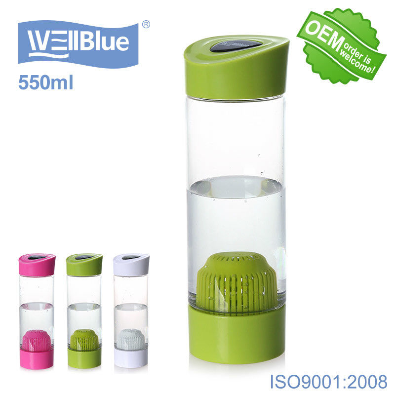 OEM PET Portable Alkaline Water Bottle Infuser Food Grade Material WellBlue Brand